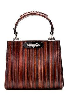 c4fa3e32f4 Wood effect leather mini doriana top handle bag by BERTONI Preorder Now on  Moda Operandi Tote