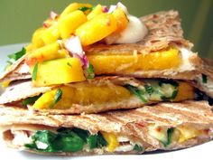 These quesadillas are a simple appetizer or lunch (complete the meal with an arugula side salad). Or, serve the peach salsa with tortilla chips as a colorful snack.