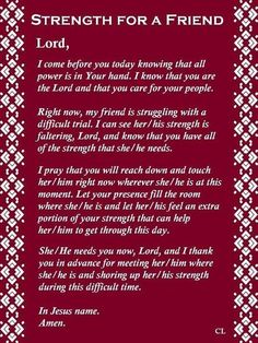 Strength for a Friend #Prayer