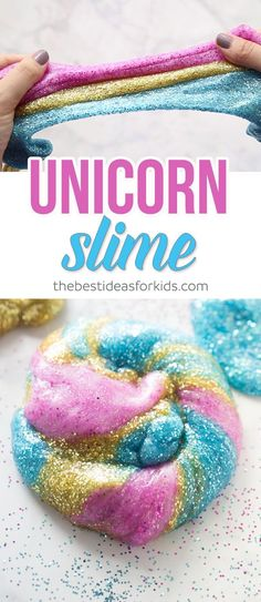 This unicorn slime is easy to make! Make this glittery gold, pink, and blue unicorn slime and your kids will LOVE it. You can even make this glitter glue slime look like unicorn poop! No borax recipe.