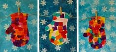 Arts Activity -- Tissue Paper Mittens --(website is in French, but beautiful ideas! Winter Art Projects, Winter Crafts For Kids, Winter Fun, Art For Kids, Winter Season, Arte Elemental, Classe D'art, Kindergarten Art Lessons, January Crafts