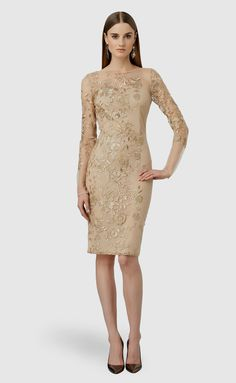 David Meister Embroidered Flower Cocktail Dress