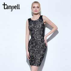 Sale Price US $19.44 Discount 46% Tanpell rectangle cocktail dress sexy black sleeveless scoop above knee lace dress cheap women party formal short cocktail dress your way to success #Cocktail#Dresses