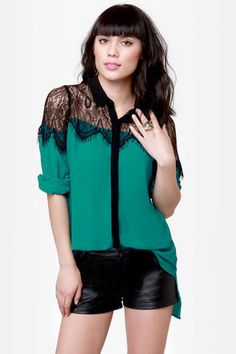 Proper Topper Black and Teal Button-Up Top