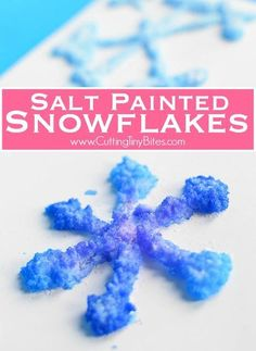Salt Painted Snowflakes- fun winter process art activity for preschool, kindergarten, or elementary kids. Great for fine motor development, color theory, and science! #wintercraft