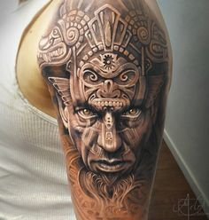 Aztec warrior guy - 50 Cool Sleeve Tattoo Designs <3 <3