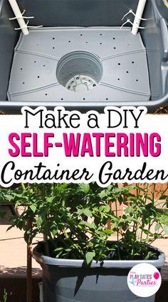 21 Trendy Diy Garden Pots Self Watering Diy Self Watering Planter, Self Watering Containers, Diy Garden, Garden Projects, Garden Pots, Garden Ideas, Planter Garden, Garden Shade, Tomato Planter