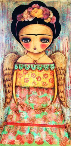 Frida Wings to Fly  - Giclee Reproduction from Original Mixed Media Collage Painting By Danita Art  Frida alas para volar - Lámina reproducción de originales mezclados Pintura Collage Medios Por Art Danita - (
