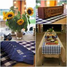 Barn wedding rehearsal bbq-- why not for the reception? do the table covers in the checkered blue and white and use the yellow centerpieces for accent? Rustic Rehearsal Dinners, Rehearsal Dinner Decorations, Wedding Rehearsal, Wedding Reception, Wedding Venues, Yellow Centerpieces, Jar Centerpieces, Wedding Centerpieces, I Do Bbq