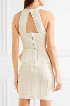 Hervé Léger - Marlena Textured Knitted Mini Dress - Off-white -