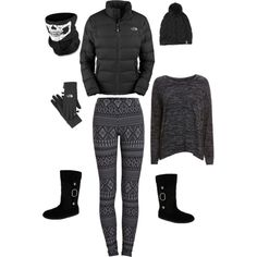 Cold Weather Creepy Cutie by Deranged Diva. A fashion look from February 2015 featuring rag & bone/JEAN sweaters, The North Face jackets and Pieces leggings. Browse and shop related looks.