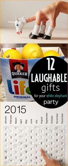 12 Laughable Gifts. Hilarious gifts for a white elephant party. Cheap and easy gag gifts that are funny.