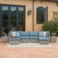 Corvus Outdoor 8-piece Grey Wicker Sectional Sofa Set with Blue Cushions