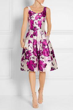 Oscar de la Renta | Pleated floral-print silk dress | NET-A-PORTER.COM