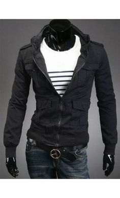 Mens high collar pocketed coat