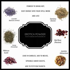 Erotic herbs Hoodoo Spells, Magick Spells, Magic Herbs, Herbal Magic, Witchcraft Spell Books, Voodoo Hoodoo, Eclectic Witch, Book Of Shadows, The Conjuring