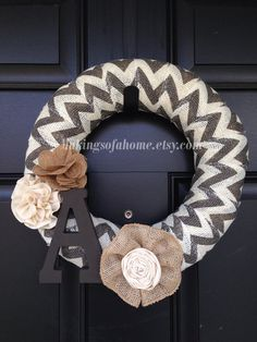 Chevron burlap Wreath with Initial