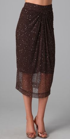 Alice + Olivia Lacey Draped Sequin Skirt