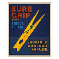 Sure Grip Vintage Graphic Reprint On Canvas By Thos. Baker- fun for a laundry room!