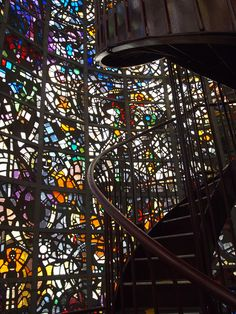 A staircase winds up a stained-glass tower at the Open Air museum in Hakone, Japan