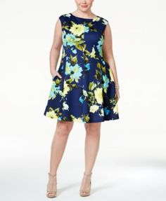 Jessica Howard Plus Size Cap-Sleeve Floral-Print Fit & Flare Dress - Dresses - Women - Macy's