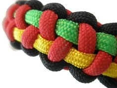 Rasta Paracord Bracelet Green Yellow Red and by ACORDING2MACEY