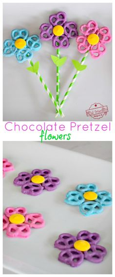 Learn How to Make a Colorful Chocolate Covered Pretzel Flower with candy melts for spring, summer, or Mother's Day. What a sweet DIY gift idea for Mom! It's such a fun and easy food treat or summer dessert. Spring Treats, Spring Desserts, Easter Desserts, Easter Recipes, Mothers Day Desserts, Mothers Day Crafts, Mothers Day Meals, Mothers Day Cupcakes, Candy Melts