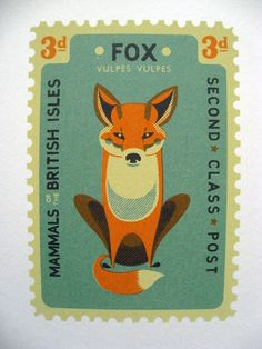 Tom Frost A Mammals of the British Isles stamp themed screenprint on Fabriano paper_fox