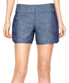 Blue Chambray Dolphin Hem Shorts