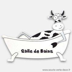 Plaque de porte de salle de bains Vache noire et blanche, peinte à la main et personnalisable http://www.souris-verte-deco.fr/Boutique/plaques-portes-salles-bains-humoristiques-personnalisables/130-plaque-de-porte-salle-de-bains-vache.html