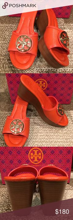 "Tory Burch Selma gold logo wedge slide sandals Comfortable pebbled leather silhouette with a gold-tone logo medallion and powerful stacked wedge.  Heel ~3.25"", platform: 1"" platform. Leather upper and lining/rubber sole. Padded insole.  Brand new without box! Tory Burch Shoes Wedges"