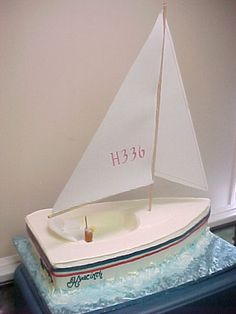 3D shaped Sailboat cake with waves.