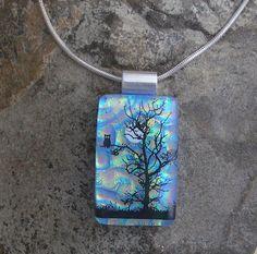 Moonlit Tree Owl Necklace Fused Dichroic Glass Pendant. $26.00, via Etsy.