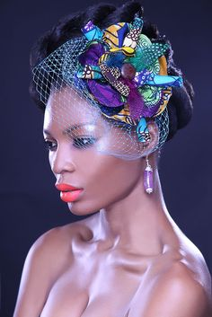 Hair Accessories Jewelry Created by Ankcara.For Nigerian brides and bridesmaids, add more flair to your wedding with this gorgeous Ankara headpiece with a veil. No more plain looking hair accessories! African Hats, African Attire, African Wear, African Style, African Accessories, Head Accessories, African Jewelry, African Inspired Fashion, African Men Fashion