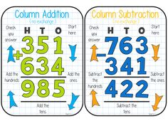 Column Addition / Subtraction Posters