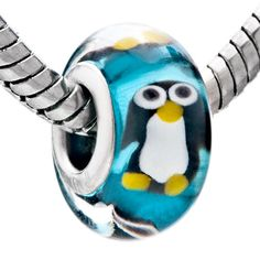 Charms Beads - blue zircon cute penguin animal fits murano glass beads charms bracelets fit all brands Image.