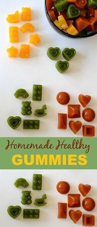 Make your own gummies and turn them into natural multivitamins. Real fruits and veggies and no sugar. #healthysnacks #gummies #homemade #kids #funfood