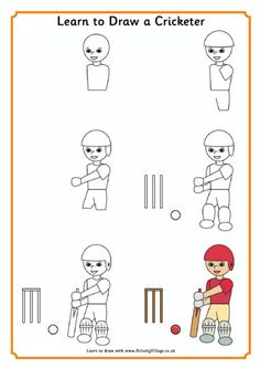 Learn to draw a cricketer