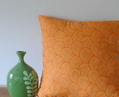 Modern Orange Pillow, Handstuffed, 16x16