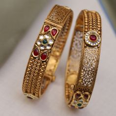 Decorate Your wrist. Get in touch with us on Gold Bangles Design, Gold Earrings Designs, Gold Jewellery Design, Gold Jewelry, Diamond Jewellery, Wedding Jewelry, Antique Jewellery Designs, Antique Jewelry, Antique Gold