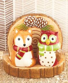Winter Fox & Owl Tabletop Collection: 3-Pc. Napkin Holder with S&P Set