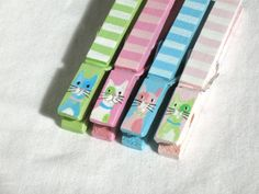 PASTEL CAT CLOTHESPIN hand painted magnetic by SugarAndPaint, $12.00