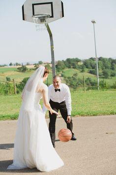 Bride and Groom Playing Basketball| photo by Kate Breuer Photographer katebreuer.com