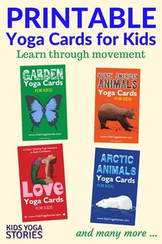 Printable Yoga Cards for Kids: Each deck of digital yoga cards includes an Index Card, Pose Instructions, Yoga Pose Cards, and Matching Keyword Cards. Shop Yoga Books for Kids Kids Yoga Poses, Yoga For Kids, Kinesthetic Learning, Kids Learning, Preschool Yoga, Preschool Ideas, Kids Dance Classes, Animal Yoga, Childrens Yoga
