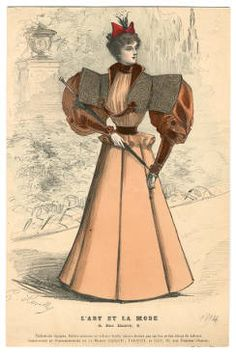"1893-1894, Plate 172. Fashion plates, 1700-1955. The Costume Institute Fashion Plates. The Metropolitan Museum of Art, New York. Gift of Woodman Thompson (b17520939) | The caption reads ""L'art et la mode:"" Art and Fashion. #fashion"