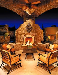 📣 89 outdoor fireplace design options for the comfort of your outdoor living room of 80 Outside Living, Outdoor Living Areas, Outdoor Rooms, Indoor Outdoor, Outdoor Stone, Outdoor Patios, Outdoor Kitchens, Outdoor Fireplace Designs, Outdoor Fireplaces