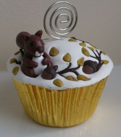 Squirrel gathering nuts in the Autumn fake cupcake photo or card holder Fake Cupcakes, Cupcake Photos, Squirrel Girl, Fall Baking, Cupcake Toppers, Girl Birthday, Unique Gifts, Card Holder, Photo Holders