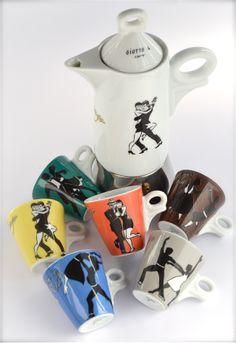 """Set da caffè in porcellana """"Ritmo Espresso"""": decoro ispirato alla danza"""