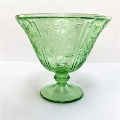 Vintage Green Glass Open Pedestal Candy Dish 1970 Reproduction