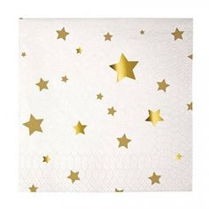 Gold Star Paper Napkins - Glam up your table with this pack of 16 Gold Star paper napkins! Add some sparkle to your occasion with these luxurious star paper napkins. Decorated with a stunning shimmer gold star print these napkins are the perfect (and not to mention stylish) answer to catching crumbs from your canapés or spillages from your favourite tipple. #papernapkins #goldnapkins #starnapkin #magicparty